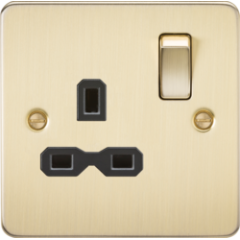 MLS BB0007PF Flat Plate 13A 1G Dp Switched Socket Brushed Brass With Black Insert
