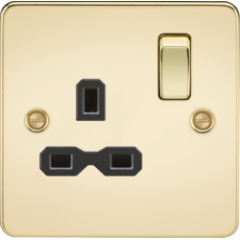 MLS BP0007PF Flat Plate 13A 1G Dp Switched Socket Polished Brass With Black Insert