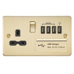 MLS BB4BSU7PF Flat Plate 1G 13A Switched Socket With Quad Usb Charger 5V Dc 5.1A Brushed Brass With Black Insert