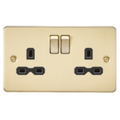 MLS BB0009PF Flat Plate 13A 2G Dp Switched Socket Brushed Brass With Black Insert