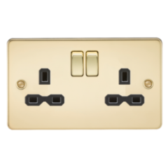 MLS BP0009PF Flat Plate 13A 2G Dp Switched Socket Polished Brass With Black Insert