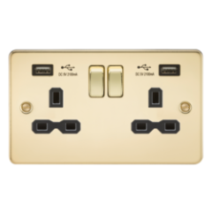 MLS BP2099PF Flat Plate 13A 2G Switched Socket With Dual Usb Charger Polished Brass With Black Insert