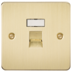 MLS BB54JRPF Flat Plate Rj45 Network Outlet Brushed Brass