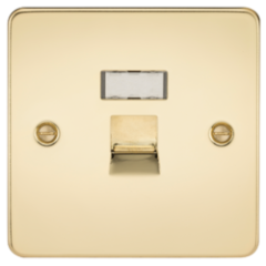 MLS BP54JRPF Flat Plate Rj45 Network Outlet Polished Brass
