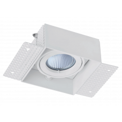 Trimless / Plaster-in Single head adjustable downlight GU10 White