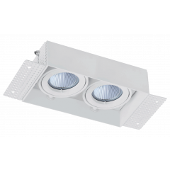 Trimless / Plaster-in Twin head adjustable downlight GU10 White