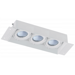 Trimless / Plaster-in Triple head adjustable downlight GU10 White