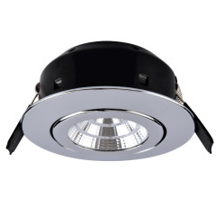 Compact 7W LED Fire Rated Polished Chrome Adjustable Warm White IP44 Dimmable, 40mm Deep