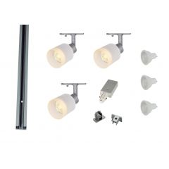 MLS 800165 Puri Glass x 3 Track Lighting Kit Silver Grey (1m Track Kit) Dimmable
