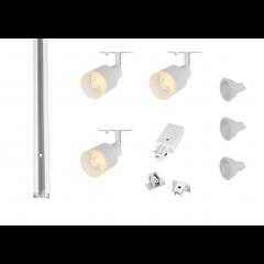 MLS 800164 Puri Glass x 3 Track Lighting Kit White (1m Track Kit) Dimmable