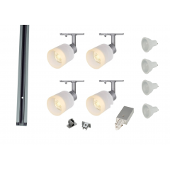 MLS 800168 Puri Glass x 4 Track Lighting Kit Silver Grey (2m Track Kit) Dimmable