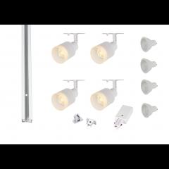 MLS 800167 Puri Glass x 4 Track Lighting Kit White (2m Track Kit) Dimmable