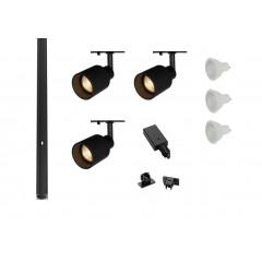 MLS 800163 Puri Tube x 3 Track Lighting Kit Black (1m Track Kit) Dimmable