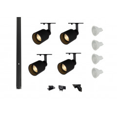 MLS 800166 Puri Glass x 4 Track Lighting Kit Black (2m Track Kit) Dimmable