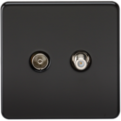 Screwless Tv and Sat Tv Outlet Isolated Matt Black