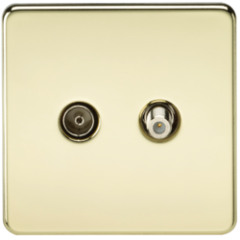 MLS BP0410FS Screwless Tv & Sat Tv Outlet Isolated Polished Brass