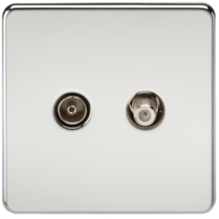 Screwless Tv and Sat Tv Outlet Isolated Polished Chrome