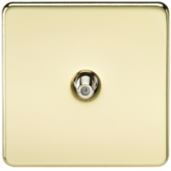 MLS BP0510FS Screwless 1G Sat Tv Outlet Non Isolated Polished Brass