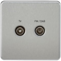 MLS CB0610FS Screwless Screened Diplex Outlet Tv & Fm Dab Brushed Chrome