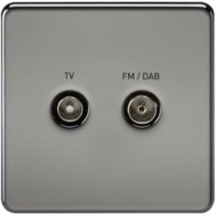 MLS NB0610FS Screwless Screened Diplex Outlet Tv & Fm Dab Black Nickel