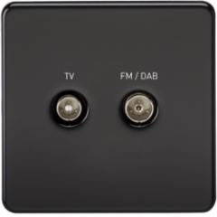 Screwless Screened Diplex Outlet Tv and Fm Dab Matt Black