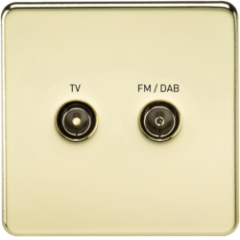 MLS BP0610FS Screwless Screened Diplex Outlet Tv & Fm Dab Polished Brass