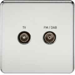 Screwless Screened Diplex Outlet Tv and Fm Dab Polished Chrome