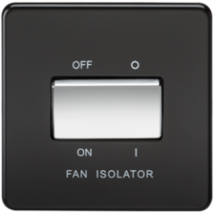 Screwless 10A 3 Pol Fan Isolator Switch Matt Black W/Chrome Rocker