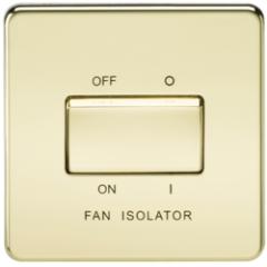 MLS BP0011FS Screwless 10A 3 Pole Fan Isolator Switch Polished Brass