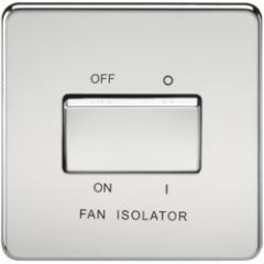 Screwless 10A 3 Pole Fan Isolator Switch Polished Chrome