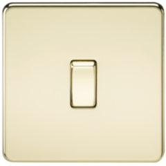 MLS BP0021FS Screwless 10A 1G Intermediate Switch Polished Brass