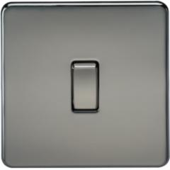 MLS NB0002FS Screwless 10A 1G 2 Way Switch Black Nickel