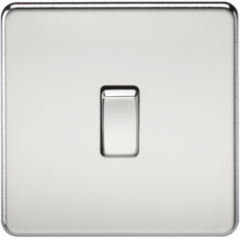 Screwless 10A 1G 2 Way Switch Polished Chrome