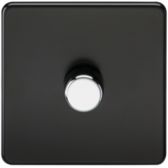 Screwless 1G 2 Way Dimmer 60-400W Matt Black W/Chrome Knob