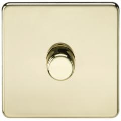 MLS BP1612FS Screwless 1G 2 Way Dimmer 60-400W Polished Brass
