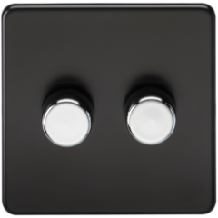 Screwless 2G 2 Way Dimmer 60-400W Matt Black W/Chrome Knobs