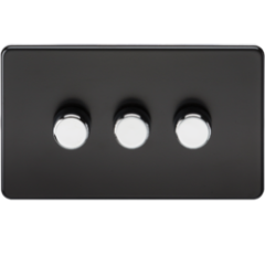 Screwless 3G 2 Way Dimmer 60-400W Matt Black W/Chrome Knobs