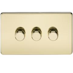 MLS BP3612FS Screwless 3G 2 Way Dimmer 60-400W Polished Brass