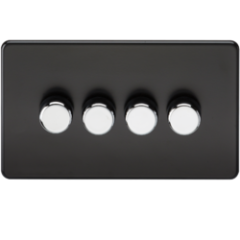 Screwless 4G 2 Way Dimmer 60-400W Matt Black W/Chrome Knobs
