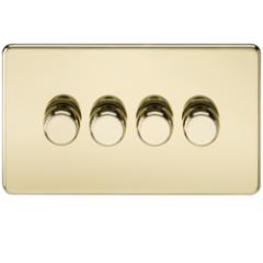 MLS BP4612FS Screwless 4G 2 Way Dimmer 60-400W Polished Brass