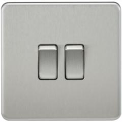 MLS CB0003FS Screwless 10A 2G 2 Way Switch Brushed Chrome