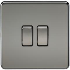 MLS NB0003FS Screwless 10A 2G 2 Way Switch Black Nickel