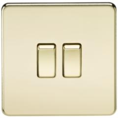MLS BP0003FS Screwless 10A 2G 2 Way Switch Polished Brass