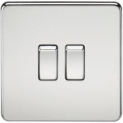 Screwless 10A 2G 2 Way Switch Polished Chrome