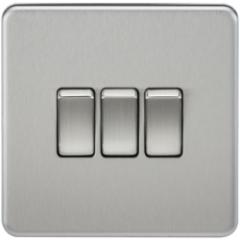 MLS CB0004FS Screwless 10A 3G 2 Way Switch Brushed Chrome