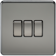 MLS NB0004FS Screwless 10A 3G 2 Way Switch Black Nickel