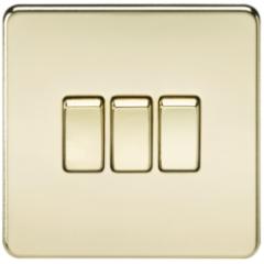 MLS BP0004FS Screwless 10A 3G 2 Way Switch Polished Brass