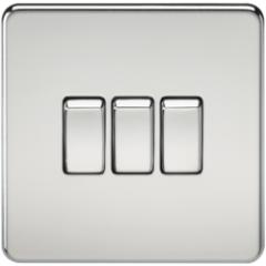 Screwless 10A 3G 2 Way Switch Polished Chrome