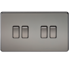 MLS NB0014FS Screwless 10A 4G 2 Way Switch Black Nickel
