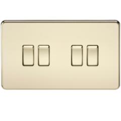 MLS BP0014FS Screwless 10A 4G 2 Way Switch Polished Brass